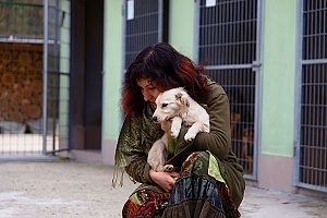 a woman who is holding her brand new shelter dog that she just decided to adopt and bring home