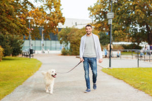 a man walking his dog that walks in circles in the park